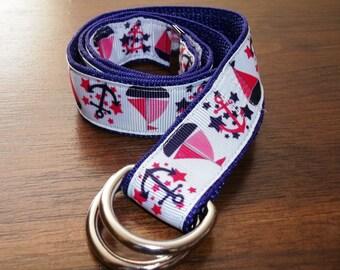 Children's Nautical Belt - Anchor Belt, Adjustable Belt, Sailboat Belt, Fun Belt, Marine Belt, Pink Belt, Purple Belt, Steel Buckle