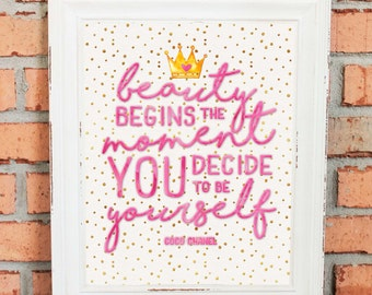 Princess Crown Artwork - Beauty Begins the Moment You Decide to Be Yourself - Inspirational Quote for Girls - Wall Art - Pink and Gold