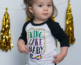 Mardi Gras Shirt for Baby - King Cake Baby Shirt - Mardi Gras Raglan - King Cake Toddler Shirt - Fat Tuesday Shirt - King Cake Baby - NOLA