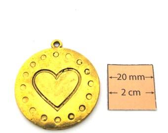 Antiqued Gold  Metal 36mm Round Pendant, 1091-29