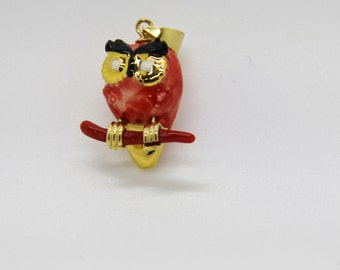 Red coral pendant owl (OWL), ceramic and gold-plated
