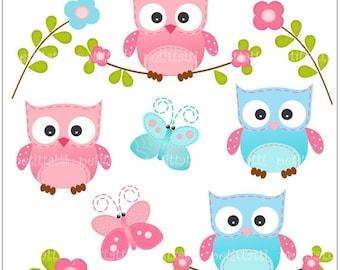 ON SALE cute clipart, owl clip art - Digital clip art, owls clipart, butterfly clipart, Owls and Butterfly, pink, blue, INSTANT Download