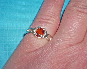 Garnet Ring - Sterling Silver and Natural Mandarin Spessertite Garnet Ring - Garnet Ring Size 4 3/4
