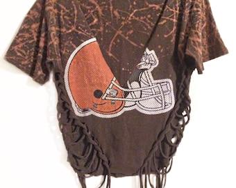 Cleveland Browns Shirt - Cleveland Shirt - Cut Up Shirt Cleveland - Browns Vintage Shirt Women - Browns Shirt Women - Bleached Shirt Women