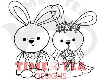 Bride & Groom Bunnies Digital Stamp, Line Drawing Illustration, Paper Craft, Adult Colouring, Card Making, Girl Stamps, Wedding Bunnies