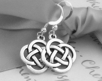 Celtic knot earrings Pewter with Sterling earwires