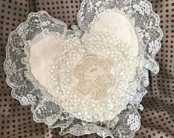 Vintage Shabby Chic lace Pillow, 12""