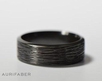 Black zirconium ring. Hammered mens ring. Rough matte finish. Dark black ring. Heavy duty for men. Gift for husband. Hammered finish ring.