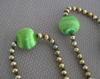 Vintage Green Satin Sheen Christmas Garland