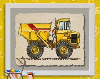 Kid Construction Art Huge Dump Truck Cute yellow digger print adds to kids room construction zone as 8x10 or 13x19 wall decor
