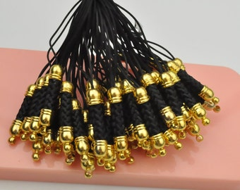 Black Cell Phone Strap Lanyard with Golden Tone Metal,Qty: 20 pcs.