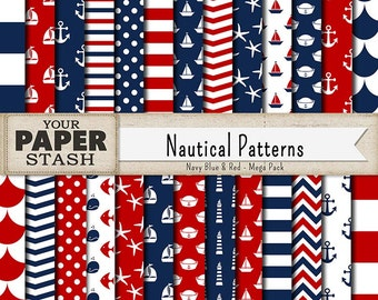 Nautical Digital Papers, Coastal Scrapbook Paper, Instant Download, Patriotic, Sailor, Baby Shower Background, Sailboats, Striped Pattern