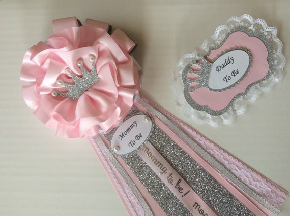Princess Baby Shower Corsage Setmommy To Be And Daddy To Be