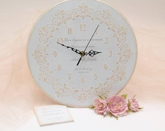 Custom Wedding Gift! White Shabby Chic Vintage Inspired Beige Lace Wall Clock