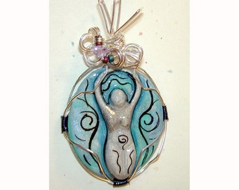 Hand painted Goddess Pendant wire wrapped