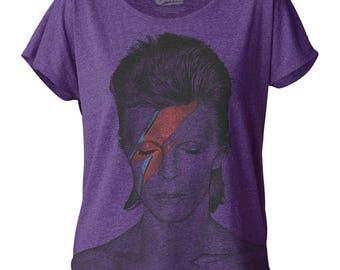 David Bowie Aladdin Sane Women's Purple Dolman T-shirt Top Blouse - DBDOL01(Purple)