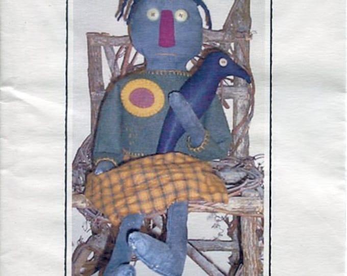 FREE US SHIP Rustic Raggedy's  Primitive Folk Art Doll Della 24 in Craft Sewing Pattern Uncut