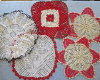 Lot of 5 Vintage Hand Crocheted Doilies