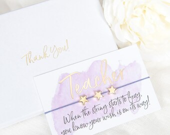Thank You Teacher Gift Boxed Wish Bracelet - Thank You - Teacher Gift - Thank You Teacher - Thank You Gift