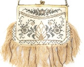 Authentic 1930's vintage glass beaded patterned evening handbag with brass handle and fringe detail