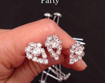 Crystal hair bobby pin- Diamond bobby pin- Wedding hair pins- Wedding accessories- fancy bobby pins- Bridal bobby pins.