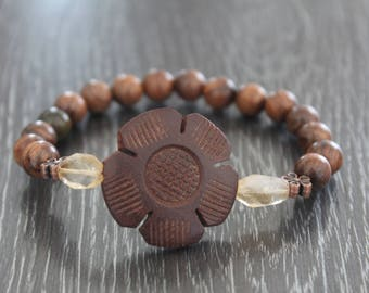 Rosewood bracelet with Citrine beads and wooden flower focal bead. Free domestic  shipping
