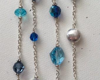 Bora Bora Nights Bracelet in Tahitian Dreams. Multi Blue Swarovski & Sterling Silver 4 Row Bracelet, Multi Blue Beaded and Silver Bracelet