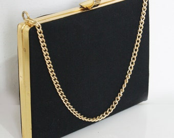 Black Evening Bag with Gold Metail Clasp and Chain