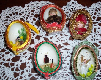 Set of 5...Vintage Real Egg Ornaments...Eggery...Egg Art..Real Egg Christmas Ornament...