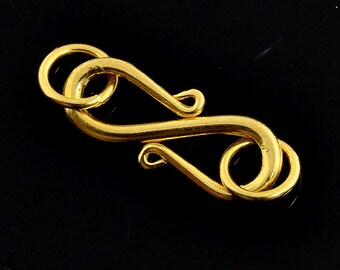 7.3mmx13.3mm 18k Solid Gold S Hook Clasp Finding