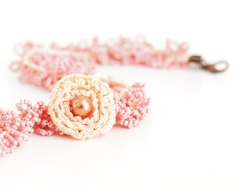 Braided Bead Necklace Peach Powder Pink OOAK Crochet Lace Flower Glass Pearl Cottage Style Multi Strad Seed Bead