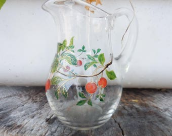 Vintage 1950's Clear Glass Painted Cherries Gold Trim Creamer Pitcher