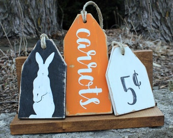 HAPPY EASTER Rustic Easter Rabbit TAGS Distressed Wood Easter Decor Primitive Wood Tags Wood Sign Easter Sign Absolute Impressions