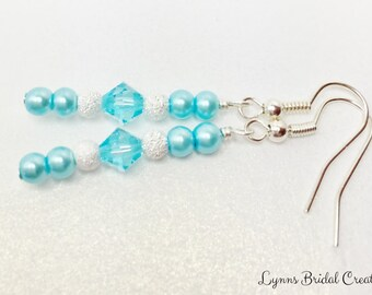 Blue Crystal Bridesmaid Earrings Swarovski Crystal Drops Blue Pearl and Crystal Dangles Blue Wedding Party Gift Mother of the Bride