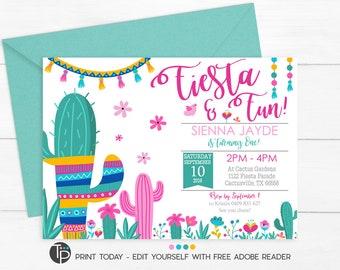 FIESTA BIRTHDAY INVITATION, Fiesta Party Invitation, Editable Fiesta invitation, Girl Fiesta Invitation, Editable Invitation, Fiesta Cactus