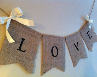 "Burlap ""Love"" sign. Country barn, rustic wedding decor, shabby chic, wedding signs"