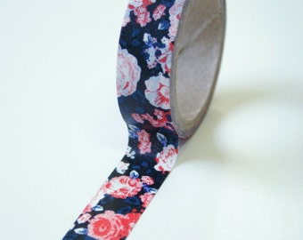 Washi Tape - 15mm - Black with Red/Blue Vintage  Design - Deco Paper Tape No. 592