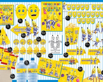 Bananas in Pyjamas - Printable Birthday Party Pack - DIY - Print. Cut. Make. including Invitation, labels, streamer, signage and much more
