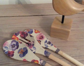 Set of 3 decoupaged wooden spoons Swarm of Pansies pattern.