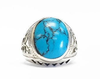 Gorgeous Sterling Silver ring w/ Turquoise SZ 9