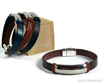 Men's leather bracelet leather bangle men's bracelet flat leather stainless bracelet tube bracelet magnetic clasp FLB10-02-03