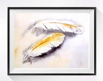 Feather Art Bird Artwork Watercolor Print painting watercolour Fine art print Tribal Wall art home decor painting purple yellow
