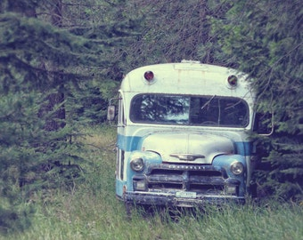 Abandoned Forest Bus, Photography Print