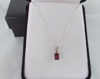 """Ruby Pendant and 18"""" sterling silver chain .925"""