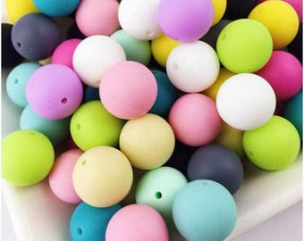 100 Pcs Multi Color Round Silicone Teething Beads: 12 mm - 20 mm