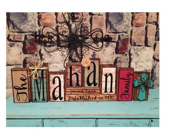 personalized made to match customizable family name wood block sets / established sign