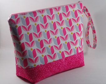 Bright Pink Tulips Large Knitting Project Bag - Bright Large Project Bag - Zippered Project Bag - Crochet Project Bag - Large Wedge