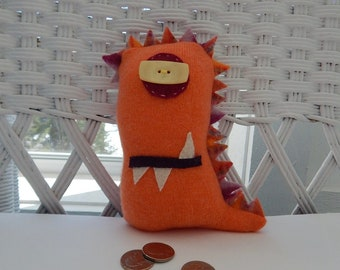 Recycled Cashmere Monster Tooth Fairy Pillow - Orange and Coral