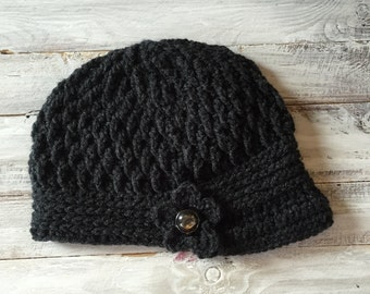 Handmade hat, Crochet Women's Brim hat, newsboy Hat, women's hat with flower, women's hat with button,women's winter hat, crochet hat