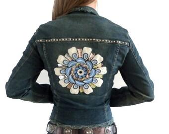 Jeans Jacket with Mandala Applique